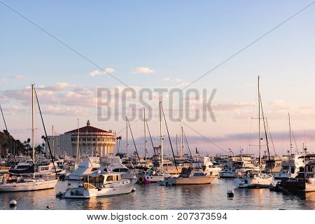Sunrise seascape in Avalon Harbor, looking toward the Casino with yachts, fishing boats and sailboats in the bay