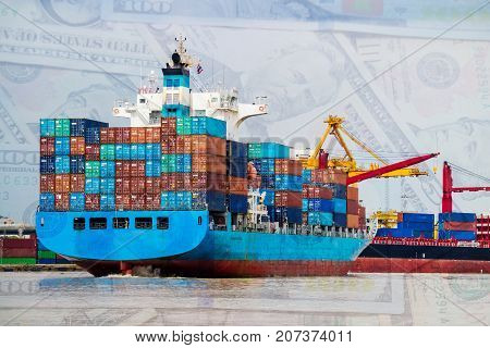 Container cargo ship depart from shipping port. Dollar money cash background. Logistics industrial and import export transportation business background