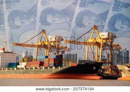 Container ship loading by crane cargo vessel at shipping port Japanese Yen banknote cash background. Logistics industry and transportation business concept