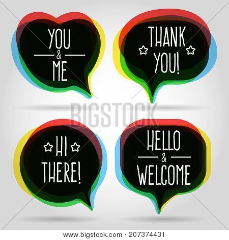 Speech bubbles isolated on white background. Vector modern talk or dialog bubble icons like welcome sign for business design