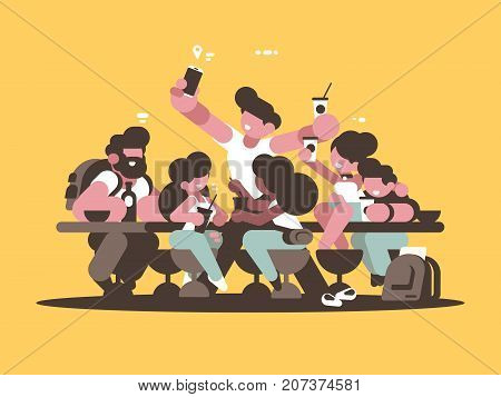 Group of happy friends guys girls relaxing in cafe. Vector illustration