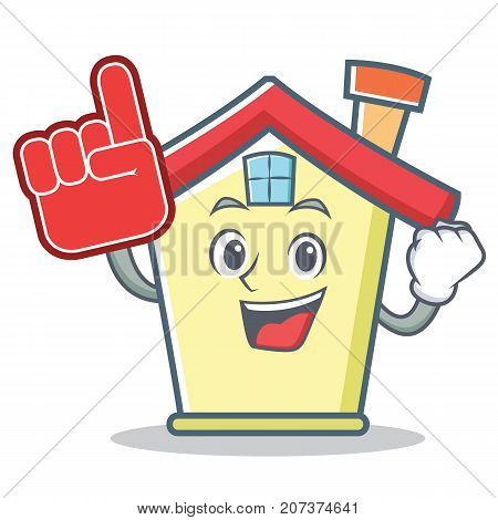 Foam finger house character cartoon style vector illustration