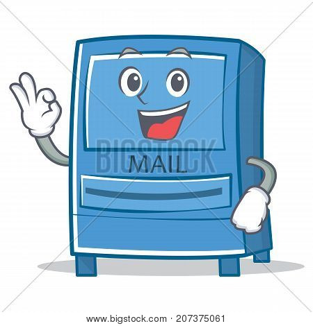 Okay mailbox character cartoon style vector illustration