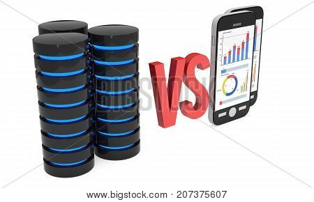 Big Data VS Small Data. Futuristic server hard disk and database block versus smartphones with bar graph charts and pie diagram. 3d render isolated on white.