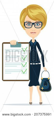 Woman show with the clipboard. Stock flat vector illustration.