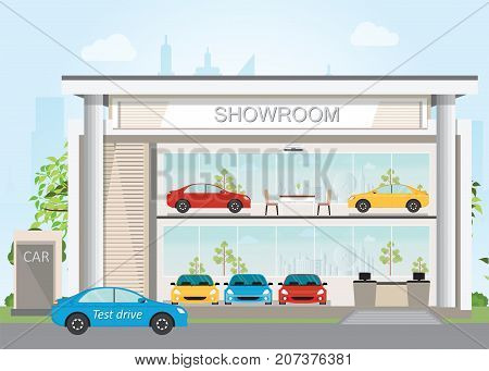 Modern car dealership showroom interior and exterior  flat design vector illustration.