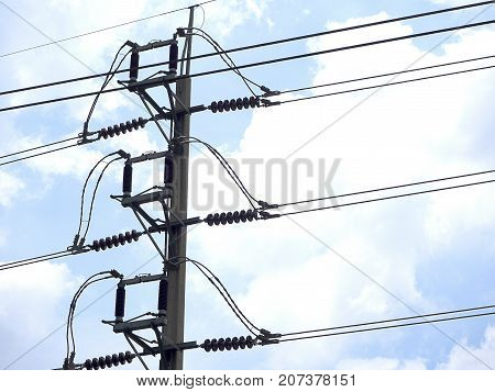 Closeup Electricity pylons poles concrete quality standards. Electricity tested