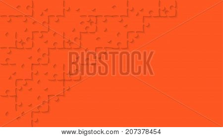 Orange Puzzle Pieces Arranged in a Rectangle - JigSaw - Vector Illustration. Jigsaw Puzzle. Abstract Vector Background.