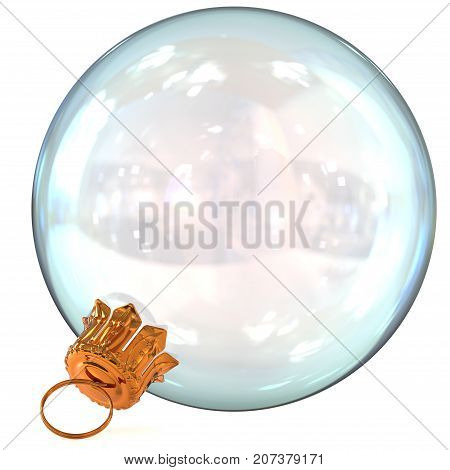 Christmas ball white decoration clean glass translucent Happy New Year's Eve hanging bauble adornment traditional Merry Xmas wintertime ornament closeup. 3d rendering illustration