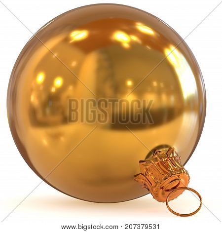 Golden Christmas ball decoration closeup New Year's Eve bauble hanging adornment traditional Happy Merry Xmas wintertime ornament polished gold. 3d rendering illustration