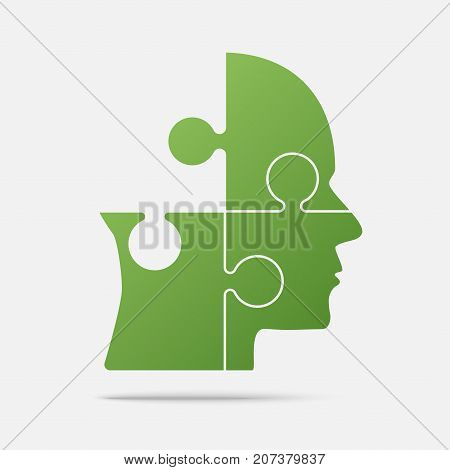 Material Design Green Puzzle Piece Silhouette Head in a Grey Square - Vector Illustration. Jigsaw Puzzle Blank Template. Vector Object.