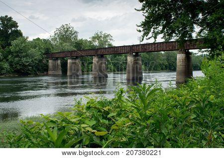 Railroad Bridge Across River