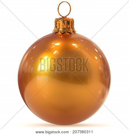 Christmas ball decoration golden orange New Year's Eve hanging bauble adornment traditional Happy Merry Xmas wintertime ornament shiny polished. 3d rendering illustration