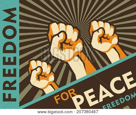 vector illustration retro poster human hands clenched into fist symbol of protest revolt revolutions