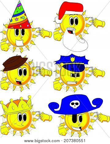 Cartoon sun shows a you're nuts gesture by twisting his finger around his temple. Collection with costume. Expressions vector set.