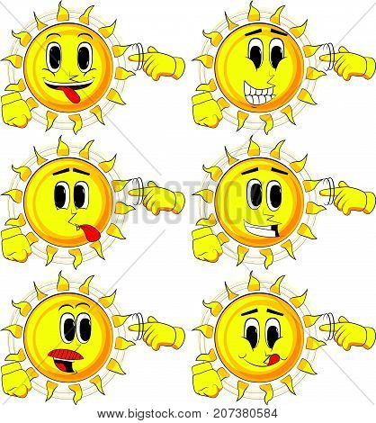 Cartoon sun shows a you're nuts gesture by twisting his finger around his temple. Collection with happy faces. Expressions vector set.