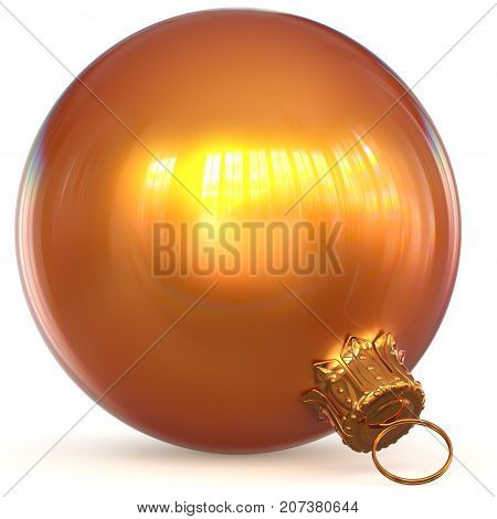 Orange golden Christmas ball decoration New Year's Eve hanging bauble adornment traditional Happy Merry Xmas wintertime ornament shiny polished. 3d rendering illustration
