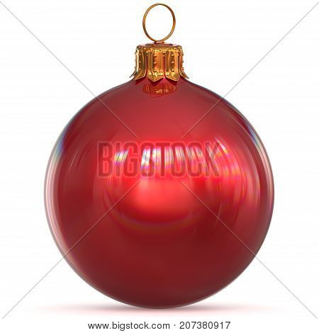 Red Christmas ball decoration bauble closeup New Year's Eve hanging adornment traditional Happy Merry Xmas wintertime ornament polished. 3d rendering illustration