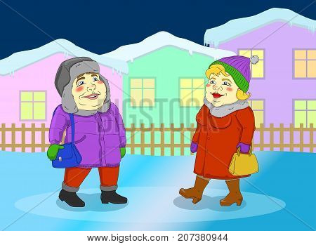 Fat woman and fat man walking in a small winter town. Color vector paint
