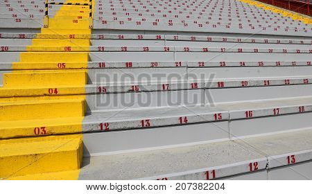 Many Numbers On The Stadium Bleachers
