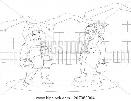 Fat woman and fat man walking in a small winter town. Black and white image for coloring