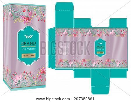 Packaging design, luxury box design template and mockup box. Illustration vector