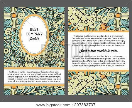 Brouchure design template for company with light colors ethnic decorative pattern vector colorful background