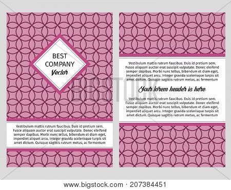 Brouchure design template for company with bright lilac background with circular violet linear pattern, vector illustration