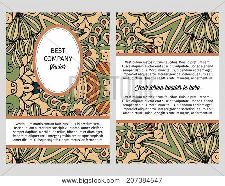 Brouchure design template for company with green and beige floral decorative outline pattern with leaves and swirls, vector illustration
