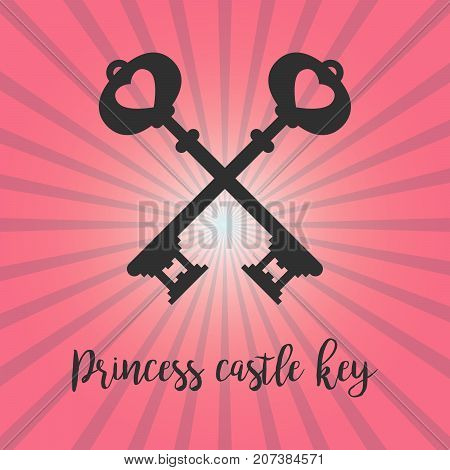 Vintage crossed keys silhouette on pink background with princess castle key text. Vector illustration