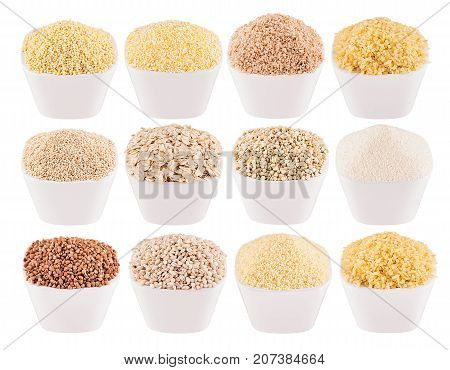 Collection different groats in white bowls closeup isolated. Template for menu cover advertising. Pearl barley bulgur millet rice couscous semolina corn grits buckwheat quinoa.