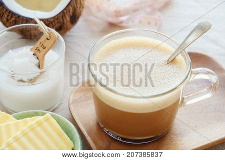 Bulletproof Coffee, Blended With Organic Grass Fed Butter And Mct Coconut Oil, Paleo, Keto, Ketogeni