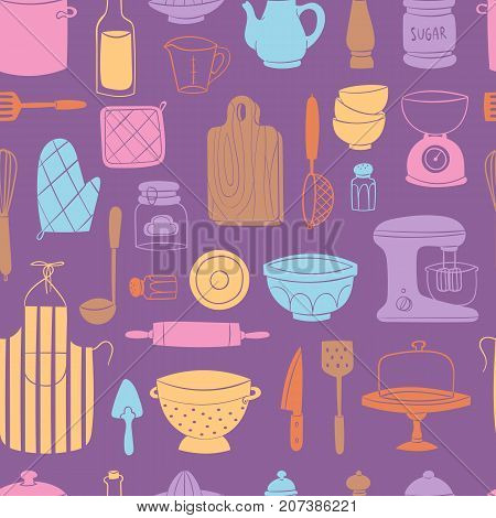 Kitchen utensils food kitchenware cooking set domestic tableware vector illustration. Restaurant or household appliance equipment dishware seamless pattern background