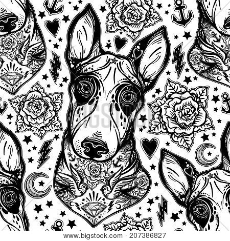 Vintage style traditional tattoo flash Bull terrier dog seamless doodle pattern with roses. Trendy stylish texture. Repeating old school tile artwork for print, textiles. Isolated vector illustration.