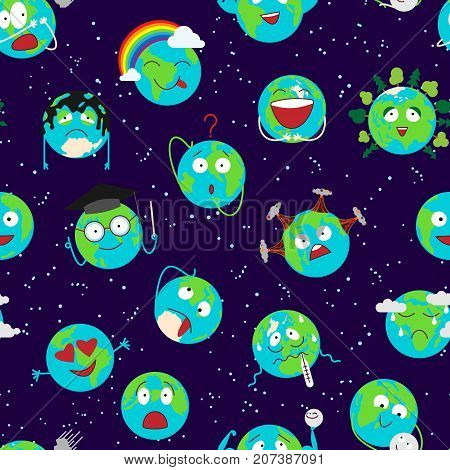 Cartoon globe with emotion web icons green global smile happy nature character expression and ecology earth planet world blue map vector illustration. Continent face emoticon seamless pattern