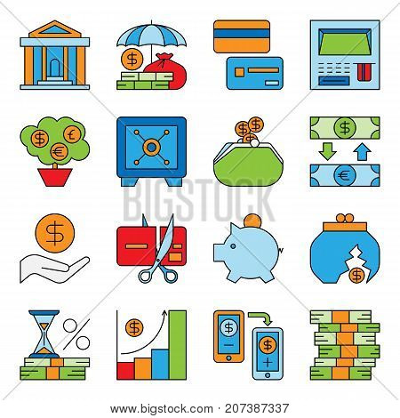 Banking and financial money services bank investment management vector illustration. Graph chart coin exchange commerce payments