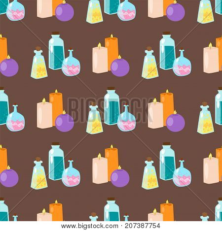 Special magic seamless pattern effect trick occult esoteric magician surprise entertainment fantasy carnival mystery tools cartoon miracle decoration vector illustration. Fun witchcraft spell event.