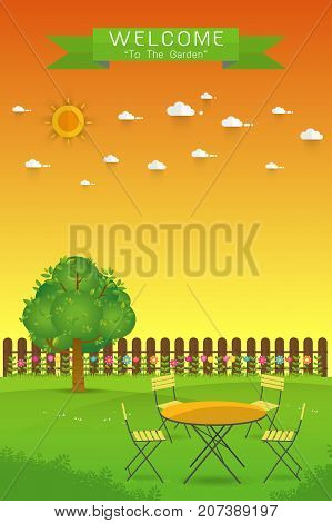 Beautiful Gardening. poster Banner with garden landscape.tablechair tree flower bushes wood fence and lawn. Flat style vector illustration.