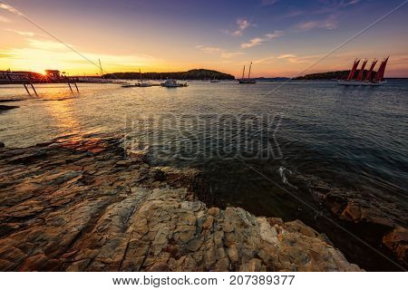 Bar Harbor in Maine at Sunset