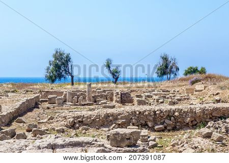 Ruins of ancient greek temple, Saranda Kolones. Cyprus Archaeological park at Kato Paphos. Paphos, Cyprus