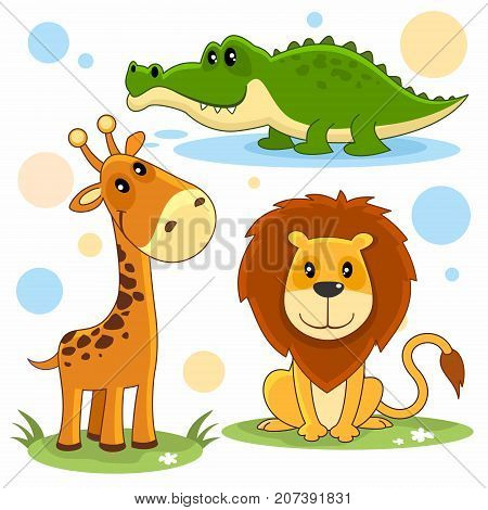 Cartoon pictures for children with the image of a lion, a giraffe and a crocodile.