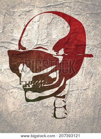 Anatomic skull in sunglasses. Detailed illustration of human skull. Grunge distress texture.