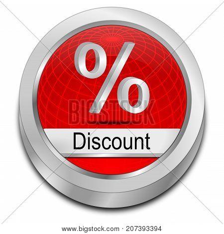 decorative red Discount button - 3D illustration