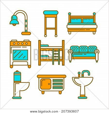 Furniture of bright colors and minimalistic design isolated cartoon flat vector illustrations set on white background. Comfortable beds, soft seats, table lamp, bathroom items and small commode.