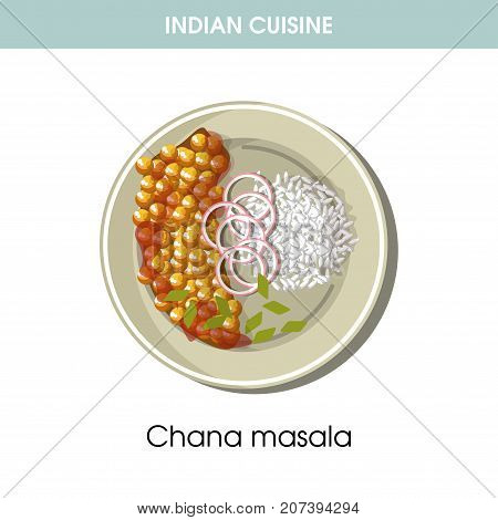 Indian cuisine traditional dish Chana masala of chickpea, onion and tomatoes with garnish on plate. Vector flat isolated icon for India vegetarian restaurant menu or cooking recipe template