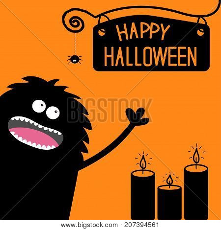 Screaming monster silhouette in the corner. Spider dash line web. Black candles. Cute Funny cartoon baby character. Eyes teeth tongue spooky hands. Happy Halloween. Flat Orange background. Vector