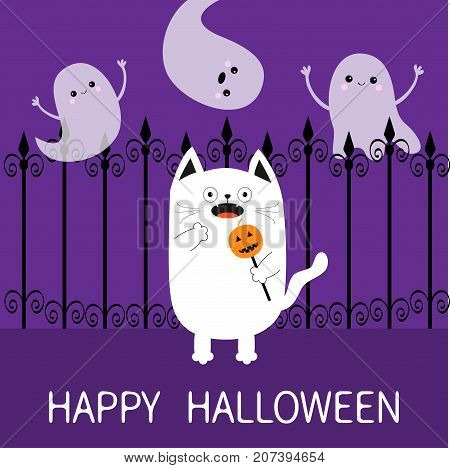 Happy Halloween. Spooky frightened cat holding pumpkin face on stick. Forged iron fence. Three flying ghosts hands up Boo. Funny Cute cartoon baby character. Flat design. Violet background. Vector