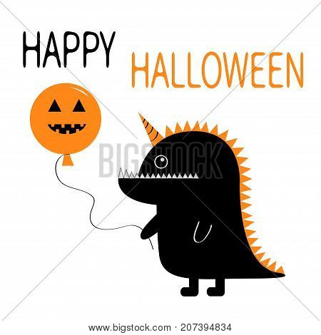 Happy Halloween. Black silhouette monster with sharp tail horn fang tooth eye. Holding pumpkin face balloon. Cute cartoon funny baby character. Greeting card. Flat design. White background. Vector