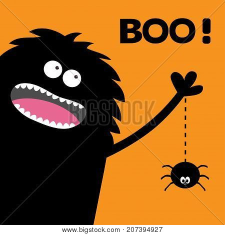Screaming monster silhouette in the corner. Spider dash line web. Black Funny Cute cartoon baby character. Eyes teeth tongue spooky hands. Happy Halloween Boo text. Flat Orange background. Vector