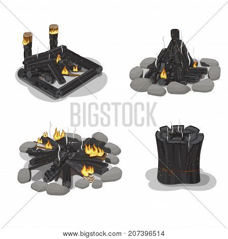Set Firewood of four burned-out bonfire and stump illustrations with differently folded wood, stones and shadows on white background. Outdoor pastime on nature. Isolated vector illustration.